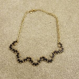 J. Crew navy blue rhinestone statement necklace
